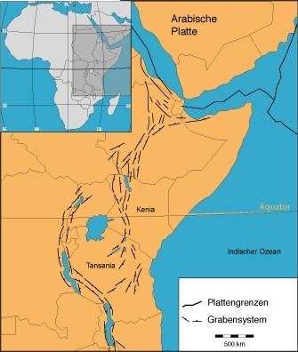 Der Ostafrikanische Graben (Modifiziert nach Smith & Moseley 1993)