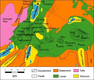 Geologie Nordtansania (Modifiziert nach Dawson 1992)